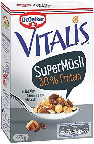 Dr. Oetker Vitalis SuperMüsli 30{56663b350fca50b8f62c617980fe22d12c3227f7afd809944e128c1aecf67269} Protein: Leckeres Müsli mit der Extra-Portion Protein, 8er Packung (8 x 375g)