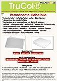 15 Blatt DIN A4 Permanent klebend glasklare glänzende Paper backed smooth Selbstklebende Polyesterfolie 60µm reißfest wetterfest hitzebeständig Wasser-,Öl-, Fett-, Chemikalien,- Flüssigkeits-, Alkohol- und Reinigungsmittelbeständig abwaschbar desinfizierbar witterungsbeständig wasserabweisend fast unzerstörbar OHNE Laminierung