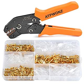 ATPWONZ SN-48B Terminal Ratchet Crimper Tool 0.14-1.5mm2 26-16WAG Compression Crimping Pilers - with 150Pcs Female Spade Crimp Terminal Kits