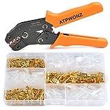 ATPWONZ Crimpzange & 150 Flachsteckhülsen, Crimpwerkzeuge Set, Crimp Tool für 2.8/4.8/6.3mm Crimpklemme
