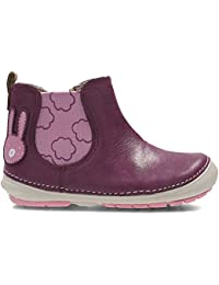 a384039ce2c8d Clarks Girls First Shoes Chelsea Boots Softly Eli - Plum Leather - UK Size  6.5G