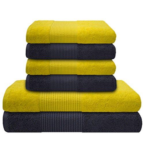 liness-6-tlg-handtucher-set-gelb-grau-4-handtucher-50x100-cm-2-duschtucher-badetucher-70x140-cm-hand