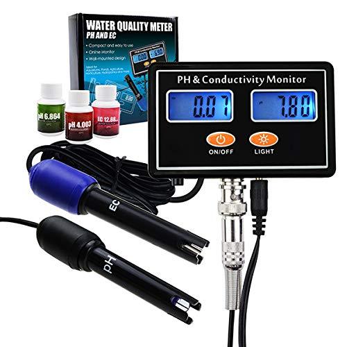 Online-PH & EC Leitfähigkeit Messgerät Tester ATC zu überwachen, Wasser in Echtzeit kontinuierliche Qualitätsüberwachung, Wand montierbar & wiederaufladbar, Aquakultur, Aquarium, Teich, Hydrokultur -