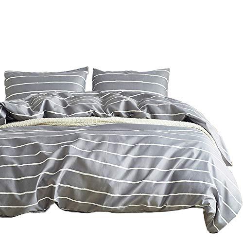 Omela Grau Bettwäsche 135x200 Weiß Gestreift Microfaser Bettbezug Set Bügelfreie + 80x80 Kissenbezüge (WS-001)
