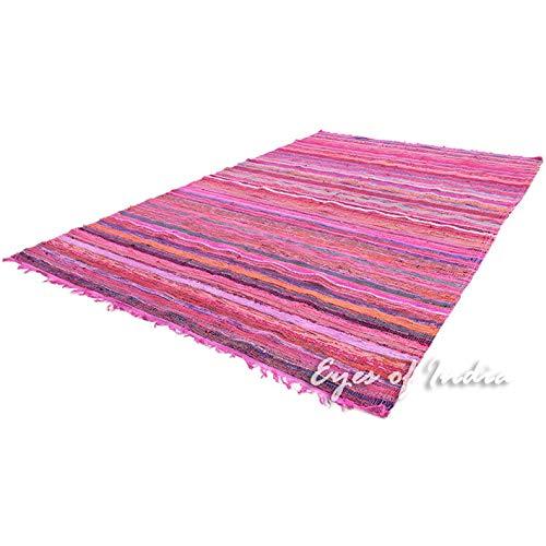 Eyes of India - 5 X 8 ft Bunt Pink Dekorativ Gewebt Bereich Teppich Teppich-Chindi Unkonventionell Boho Indisch - Pink #1 -