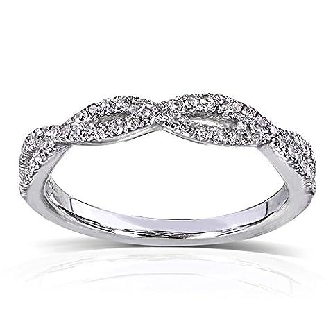 Diamant rond de mariage tressé bande 1/6carats (ctw) en or