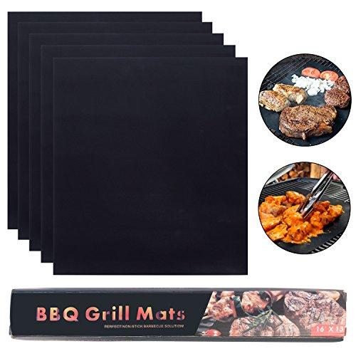 Hakkin Grillmatte Set, 5 teilig 33x40CM wiederverwendbare BBQ Grillmatte Garten Camping für Gas, Holzkohle, elektrische Grills