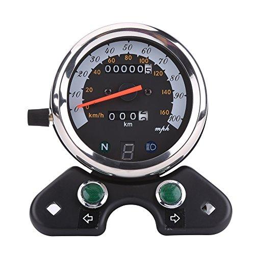 Qiilu Universal Motorrad Dual Kilometerzähler Geschwindigkeitsmesser Speedo Meter Gear Digital Display