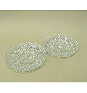 Yera Glassware Iris Glass Snack Plate - Set of 2 pieces