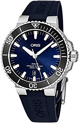 Oris Men's Aquis 43.5mm Blue Rubber Band Automatic Watch 01 733 7730 4135-RS65