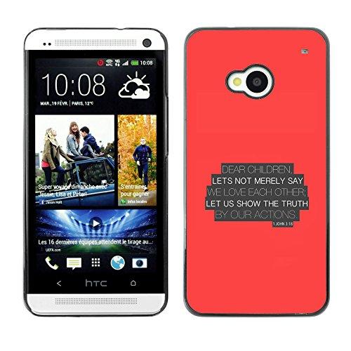 DREAMCASE (NICHT HTC ONE MINI M4) Bibelzitate Bild Hart Handy Schutzhülle Schutz Schale Case Cover Etui für HTC ONE M7 - Lassen Sie uns die Wahrheit von ur-Aktien zeigen - Johannes 3,18