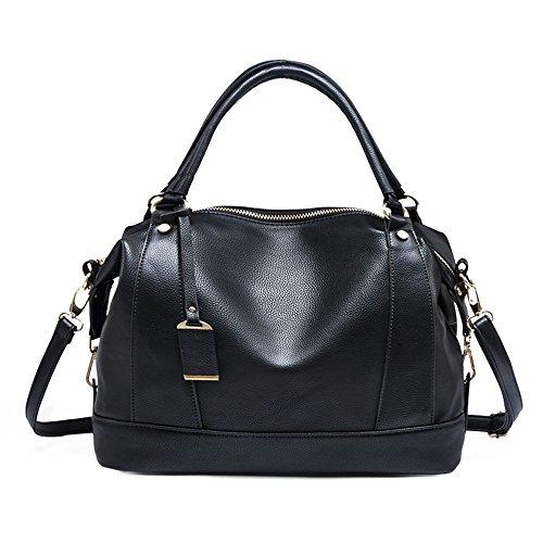 Schwarze Bowling Taschen Damen Handtaschen Fashion Sanft PU Leder Schultertasche Totes