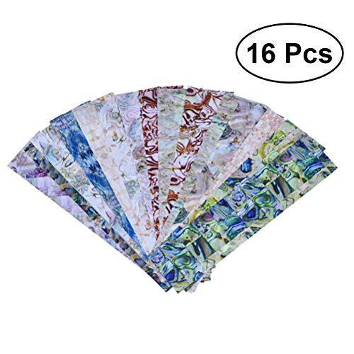 Frcolor 16pcs Nagel Folie Set Maniküre DIY Tipps Zubehör Dekoration Nail Art Transfer Aufkleber
