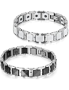 JewelryWe Schmuck 2pcs Herren Armband, Keramik Edelstahl, 12mm Breit I Rechteck Link Magnetarmband Armkette, Schwarz...