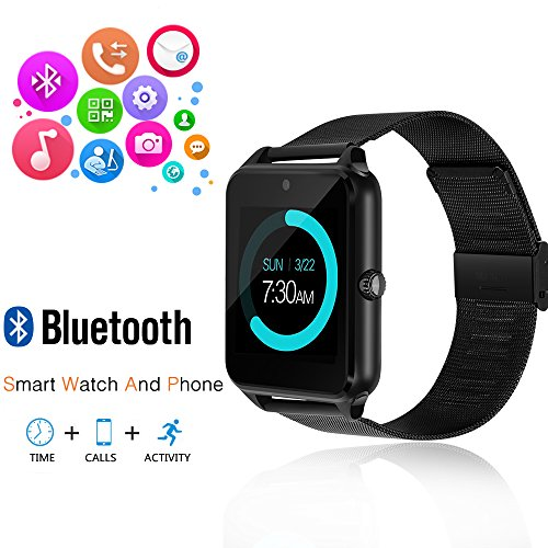 Smart Watch, JoyGeek Bluetooth Watch Wristwatch Phone with SIM Card Slot / Touch Screen / Camera for iPhone 6s/6 Plus/5s/5c/4 and Android Samsung Galaxy 6/5/4 Note 4/3/2 Sony HTC LG Huawei (Black)