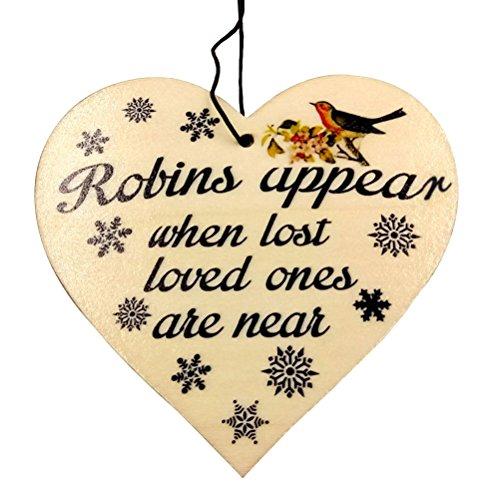 vorcool Schild aus Holz Board Herzform Deko Schild Robins erscheinen, wenn verloren lieben sind in der Nähe zum Aufhängen Ornament für Home Store Coffee House Party Decor (Vogel Muster) (Glitzer-vogel-ornament)
