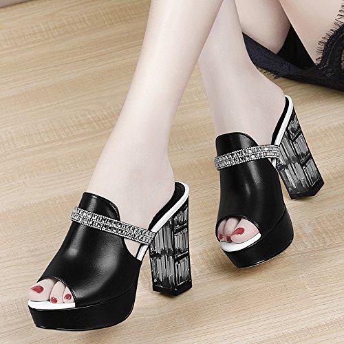 ZPPZZP La sig.ra sandali ciabattine in stile occidentale a tacco alto irregolare con spessore scanalato 36EU