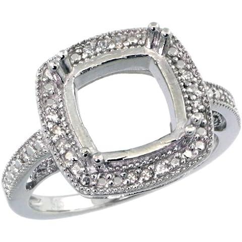 Revoni-Catenina in argento Sterling 925, stile Vintage, con supporto ad anello, con pietra semipreziosa, con diamanti da 0,08 carati, taglio a brillante, misure disponibili da J a