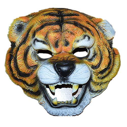 aske Tiger Gesicht Tier Horror Scary Lustige Grimasse Teufel Cosplay Party Maske Latex Headwear für Halloween, aufregende Party, Maskerade Party, Karneval ()