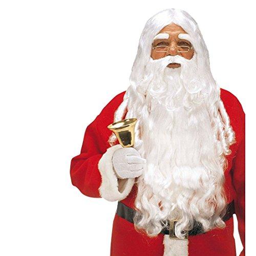 NET TOYS Deluxe Weihnachtsmann Perücke mit Bart Nikolaus Santa Claus Weihnachtsperücke Nikolausperücke Knecht ()