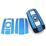 Schlüssel Folie BB für 3 Tasten Auto Schlüssel (nur Keyless Go) Folien Cover von Finest-Folia (Blau Carbon)
