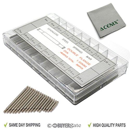 ACENIX 360 piezas 8-25 mm pasadores de pasador para reloj con paño de limpieza