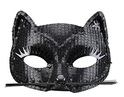 PICCOLI MONELLI Máscara de Mujer Gato Negro con pestañas y Orejas Bigote en Pailette