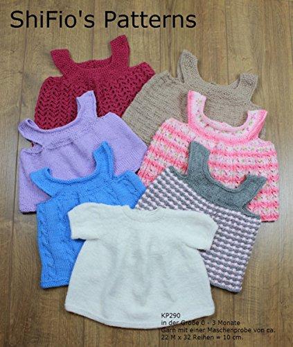 Strickanleitung - KP290 - Kleine Kleidchen mit unterschiedlichen Mustern - 0-3 monate