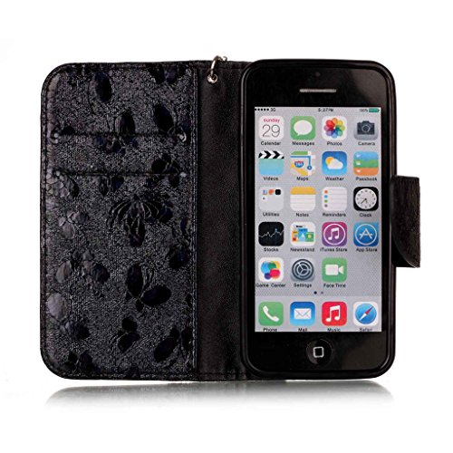 Custodia iPhone 5C, iPhone 5C Flip Case Leather, SainCat Custodia in Pelle Cover per iPhone 5C, Anti-Scratch Book Style Protettiva Caso Elegante Creativa Dipinto Pattern Design PU Leather Flip Portafo nero