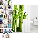 Duschvorhang, viele schöne Duschvorhänge zur Auswahl, hochwertige Qualität, inkl. 12 Ringe, wasserdicht, Anti-Schimmel-Effekt (Bambus, 180 x 200 cm)