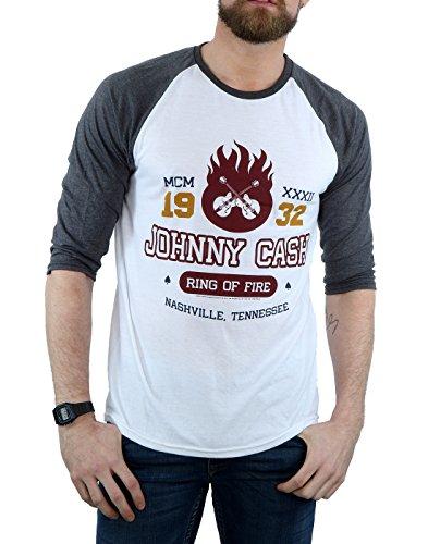 Johnny Cash Herren T-Shirt, Kein Muster White / Heather Grey