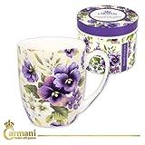 CARMANI - Schick Tee-Kaffeetasse mit 'Stiefmütterchen' verziert 370 ml
