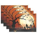 JSTEL BAIHUISHOP Halloween - Manteles individuales para mesa de comedor, diseño de lobo de...