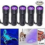 Beinhome UV Taschenlampe Schwarzlicht [5 Stück], UV Lampe, Haustiere Urin-Detektor für Eingetrocknete Urin Flecken von Hund und Katz, Detektor für unechte Banknoten (inkl. Batterien)