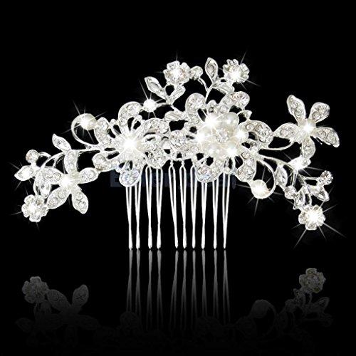 Vintage Haarschmuck, Kamm, Hochzeit, Kristall elegant Braut Retrostil Haarkamm Diadem Haarschmuck klar, Perlen, silber