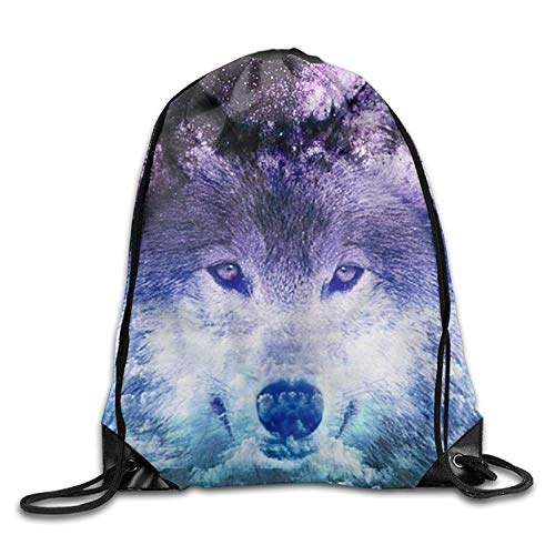 KAKICSA Large Capacity Drawstring Backpack Coulds Wolf Waterproof Bunch Backpack for Men and Women