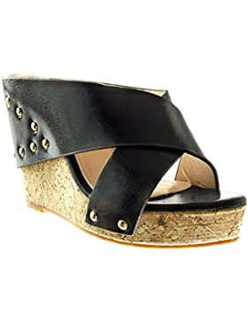 Angkorly - Scarpe Moda sandali Mules zeppe donna borchiati tanga sughero Tacco zeppa 11 CM