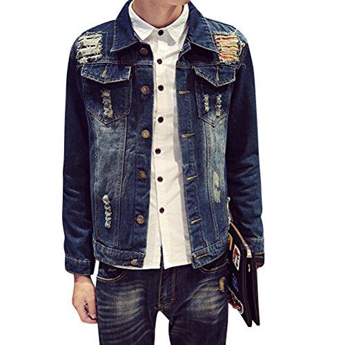 Brinny Vintage Homme Garçon Denim Veston Revers Déchiré destroyed Troué Mince Streetwear Courte Cowboy Blouson Bouton Tops Bleu 5 Taille S/M/L/XL/2XL Bleu