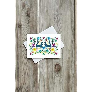 Grusskarte Füchse, Postkarte, Recycling, Mexico, Folk Art, Tiere, Fuchs, Blumen, Geschenk, Recycling Papier, Herz, verliebt, in love
