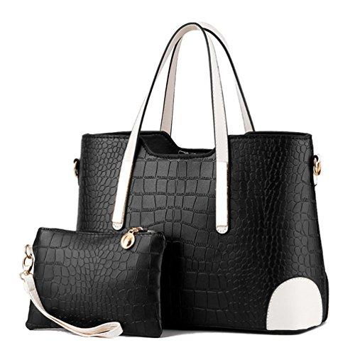 Auspicious beginning Sacchetto di grande capacità delle donne con borsa portafoglio corrispondente 2 pezzi impostati nero