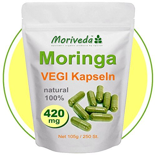 Moringa 250 VEGI capsules 420mg - Certifié 100%, de la nourriture vegan cru (1x250)