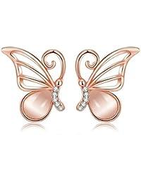 Beydodo Orecchini Oro Rosa Donna Bianco Orecchini Diamanti Orecchini Farfalla Lacrima Pietra dell'occhio del Gatto
