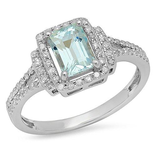 Damen Ring 925 Sterling Silber Echte Smaragd Echte Aquamarine & Rund Diamant Damen Halo Verlobungsring - Ring Halo Und Aquamarin Diamant