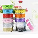 Multicolor Hohl Washi-Spitze-Muster Selbstklebende Spitze-Klebeband-Aufkleber für DIY und Dekoration, Set von 12