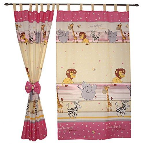2er Set Gardinen Kinderzimmer Vorhänge mit Schlaufen und Schleifen 155×95 cm Dekoschal Schlaufenschal