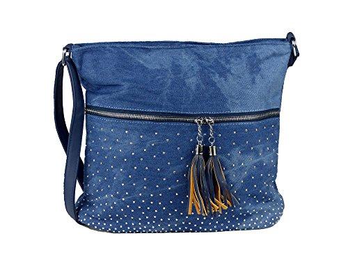 Schöne Jeans Umhängetasche mit 2 Troddeln und kleinen Steinchen/Nieten - Glitzereffekt - Damen Mädchen Teenager Tasche - Used Look Style - Maße ohne Henkel 34x29x11 cm (blau)