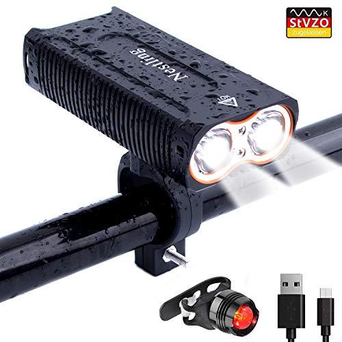 LED Fahrradlicht,QITAO USB Wiederaufladbare fahrrad scheinwerfer,2400 Lumen Sport Wasserdicht Fahrradbeleuchtung ,3 Licht-Modi,Einfach zu installieren und zu entfernen,Rücklicht Set/energiesparend/stoßfest