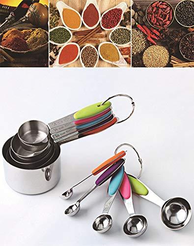 MUYCO Misurini e cucchiaini in acciaio inox Set di 10 manici facili da impugnare per ingredienti secchi e liquidi
