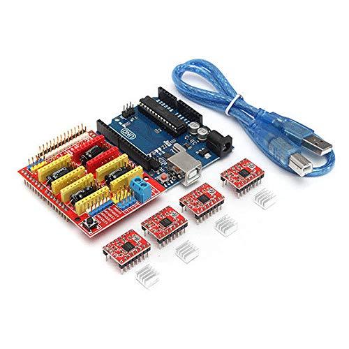 SODIAL Kit scheda stampante 3D per Arduino CNC Shield V3 + UNO R3 + A4988x4 GRBL compatibile