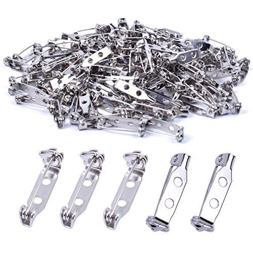 euhuton 120 Stück Silber Broschennadeln Sicherheitsnadeln Brosche Pin Backs Bar Pin Tone Pin Rücken Sicherheit Pins für Namensschild Handwerk, Schmuck, 20mm -